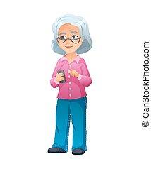 debout, smartphone, vieux, shirt., habillé, jean, illustration, actif, surfer, vecteur, elle, internet, lunettes, dame