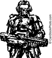 debout, soldat, assaut, vecteur, graphics., rifle.