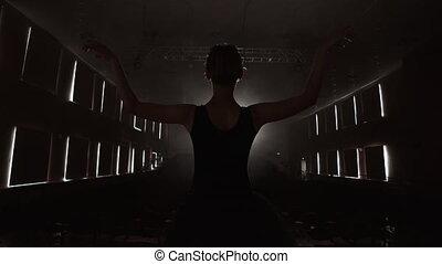 debout, solo, ballet, lent, prima, lumière, répète, fumée noire, performance, théâtre, motion:, robe, étape