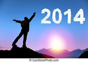 debout, sommet montagne, 2014.happy, jeune, année, nouvel homme, heureux