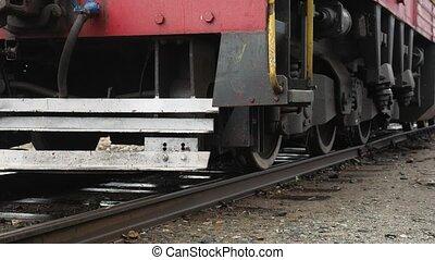 debout, vieux, pistes, train, vidéo, roues, chemin fer