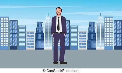 debout, ville, barbe, fond, homme affaires
