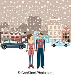 debout, ville, femme, hiver, ville, porter, voiture, couple, neige, veste, rue, femme, tomber, mâle, homme