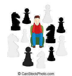 decision., concept, business, metaphors., décision, choisir, sentier, difficile