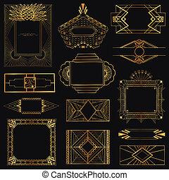 deco, art, vendange, -, main, vecteur, conception, cadres, dessiné, éléments