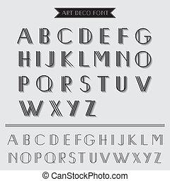 deco, art, vendange, -, typographie, vecteur, police, eps10, type