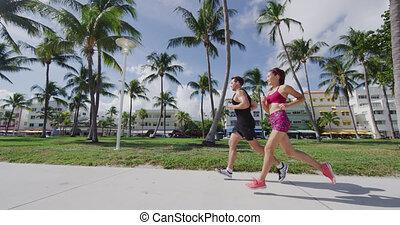 deco, courant, district, sud, exercisme, miami, couple, art, floride, jogging, plage