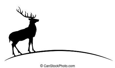 deer., silhouette