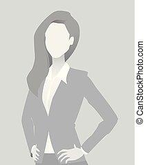 default, femme affaires, court, placeholder, por