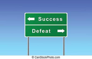 defeat., reussite, signe