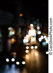 defocus, lumières, bokeh, rue, arrière-plan.