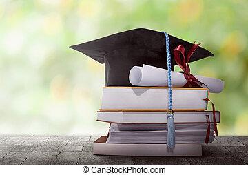 degré, remise de diplomes, pile, chapeau papier, livre