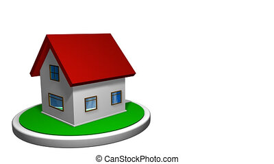degrees., maison, animation., front., toit, boîte lettres, petit, rouges, animation, disque, 360, boucle, included, alpha, blanc, tourne, canal, 3d