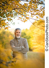 dehors, beau, homme, portrait, automne, personne agee