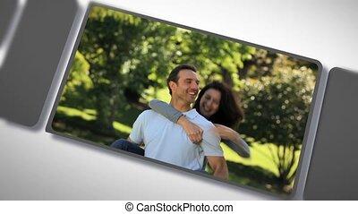 dehors, couple, romantique, montage