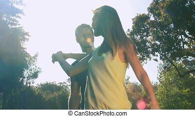 dehors, danse, couple, aimer