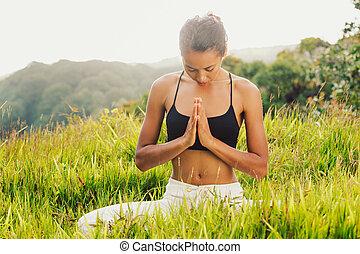 dehors, femme, yoga, nature