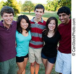 dehors, groupe, multi-ethnique, ados