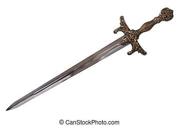 dehors., isolé, épée, arrière-plan., coupure, blanc, disposé, diagonal