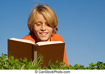 dehors, lecture, enfant, livre, heureux