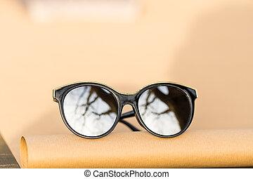 dehors, oeil, closeup., dames, pousse, mode, grand chat, foyer, jour, lentilles, rond, modèle, argent, noir, cadre, lunettes soleil, ensoleillé, sélectif