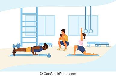 dehors, santé, concept, gens fonctionnement, fitness