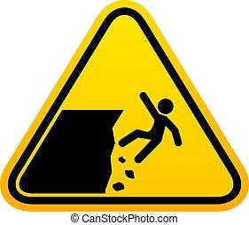 dehors, signe, avertissement, danger, garder, falaise