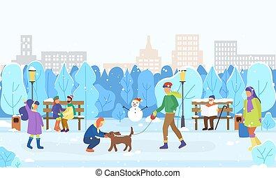 dehors, ville, hiver, paysage, citoyens, jouer
