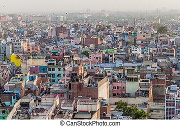 delhi, aérien, vieux, indi, vue