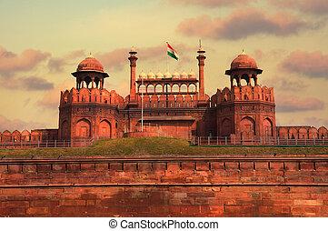 delhi, beau, inde, coucher soleil, pendant, fort rouge