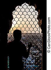 delhi, centre, mosquée, montres, coucher soleil, jama, masjid, indi, homme