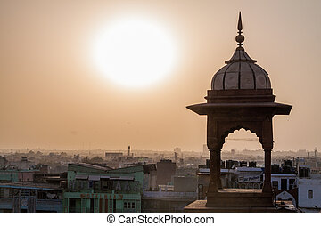 delhi, coucher soleil, sur, vieux, indi