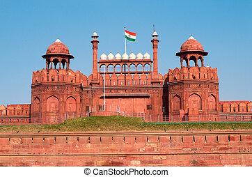 delhi, fort rouge, inde