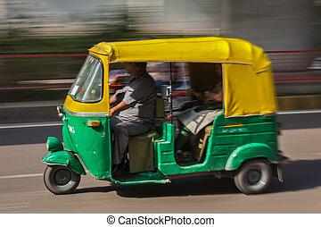 delhi, rue., inde, indien, (autorickshaw), auto