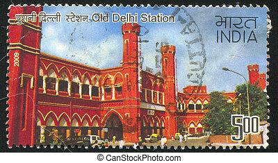 delhi, station, vieux