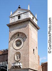 della, raison, torre, dell'orologio), palais, horloge, italie, ragione, tour, (palazzo, mantua