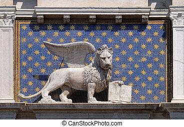 dell`orologio, rue, san, tour, torre, marco, piazza, statue, lion ailes, venise, italie, horloge, mark`s
