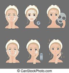 demande, acné, masque, hydrater, facial, steps.