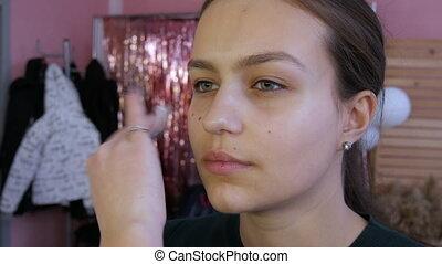 demande, avant, facial, procédure, maquillage, norme, nettoyage