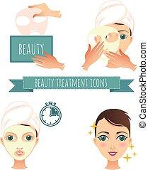 demande, beauté, illustration, masque, traitement, facial