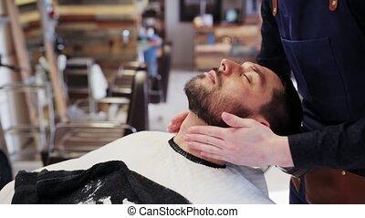 demande, cou, lotion, coiffeur, mâle, après-rasage