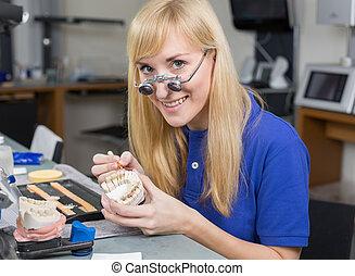 demande, dentaire, technicien laboratoire, moule, porcelaine, dentition