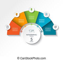 demi-cercle, options., être, business, gabarit, infographic, boîte, diagramme, visualisation, minimalistic, disposition, diagramme, toile, banner., 5, utilisé, flot travail, données