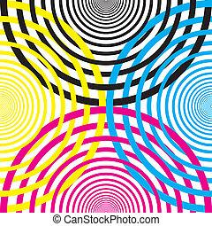 demicircles, jaune, cmyk, autre, noir, chaque, mage3nta, entrecouper, cyan