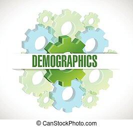 demographics, conception, engrenages, illustration, signe