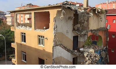 demolition., bloc, sous