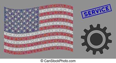 dent, usa, service, cachet, stylization, grunge, drapeau