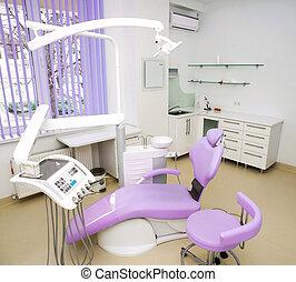 dentaire, clinique, conception, intérieur, chaise, outils