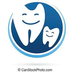 dentaire, -, clinique, vecteur, dents, sourire, icône