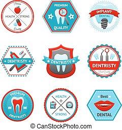 dentaire, ensemble, emblème